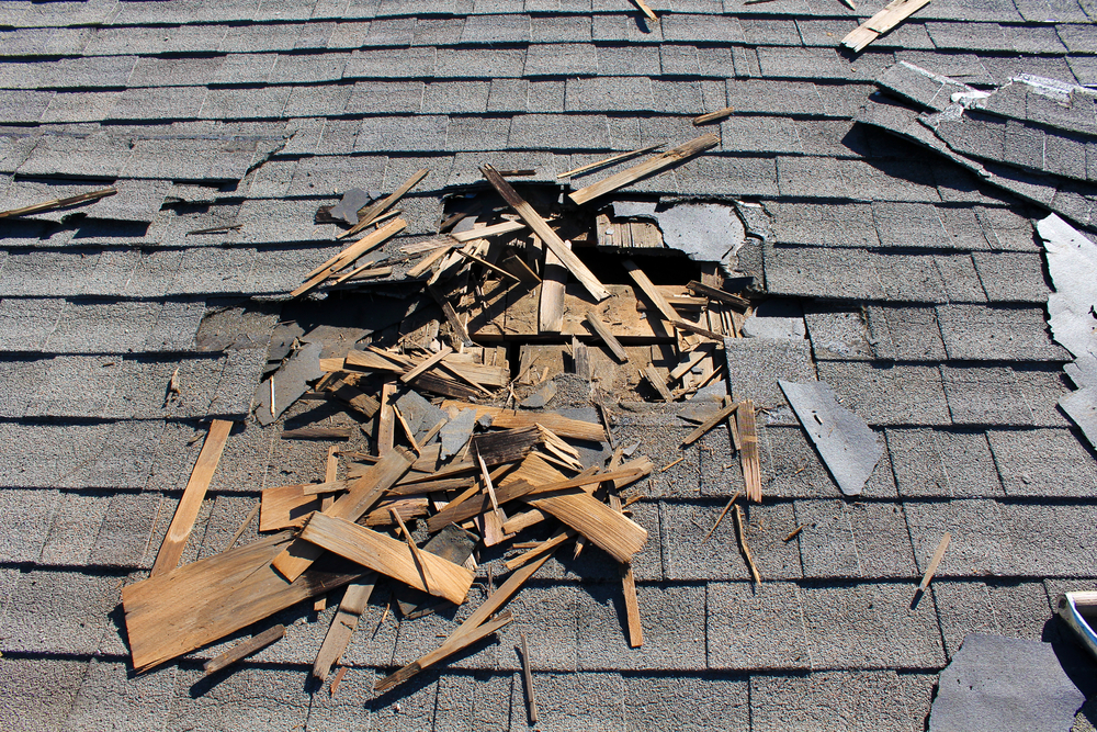 Roof with damage to shingles and membrane